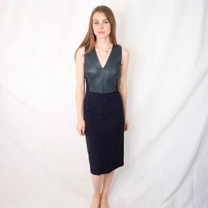 DEREK LAM Midi Pencil Dress with Leather 0751